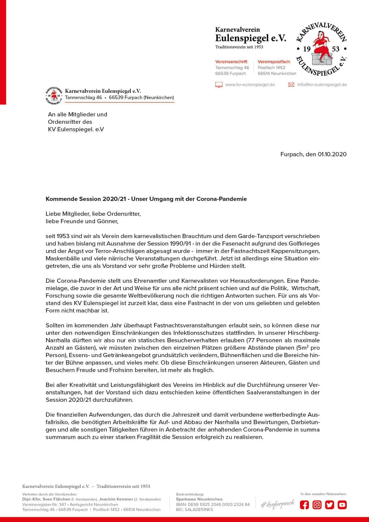 Mitgliederbrief zur Session 2020/21